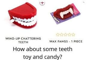 Tooth shaped toy and candy
